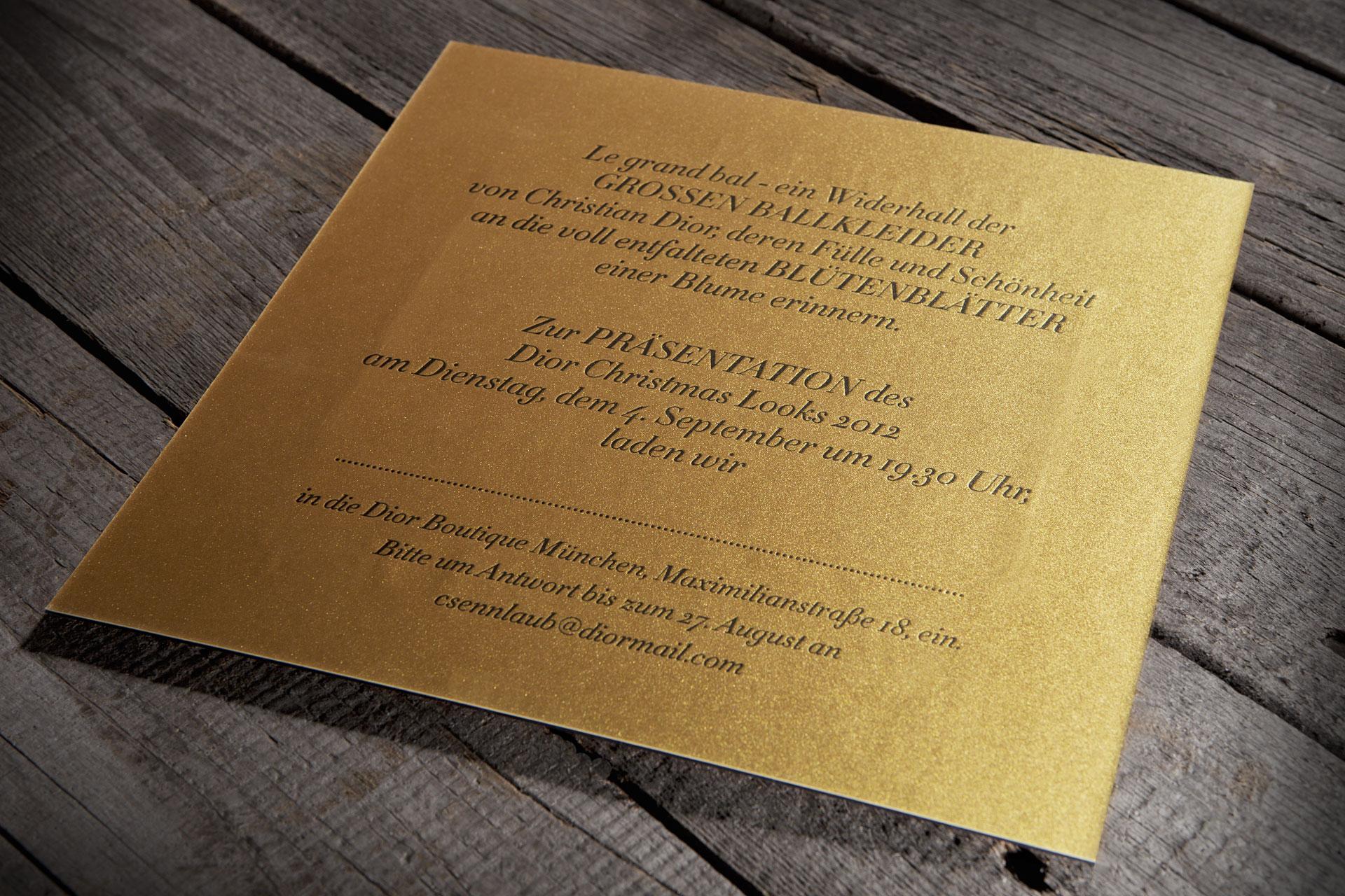 Dior-Einladungskarte
