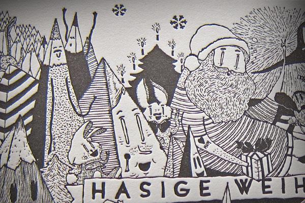 Illustrations-Weihnachtskarte