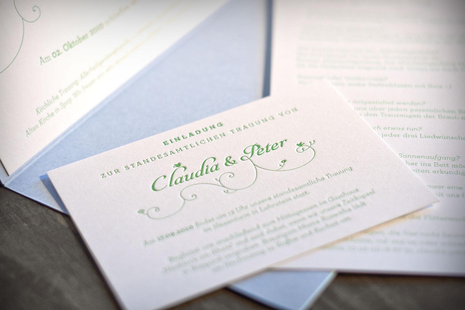 Wedding-Privatdrucksachen